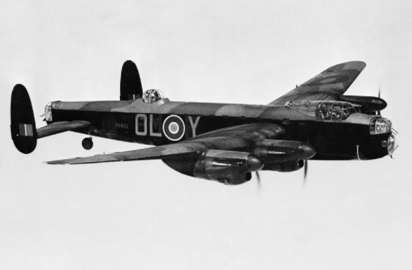 An 83 Squadron Lancaster; OL-Y, in flight.