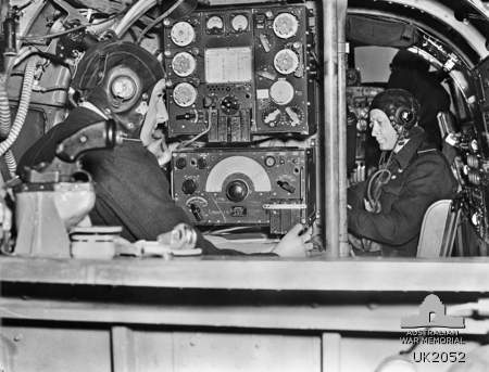 Wireless Operator and Navigator at their stations.