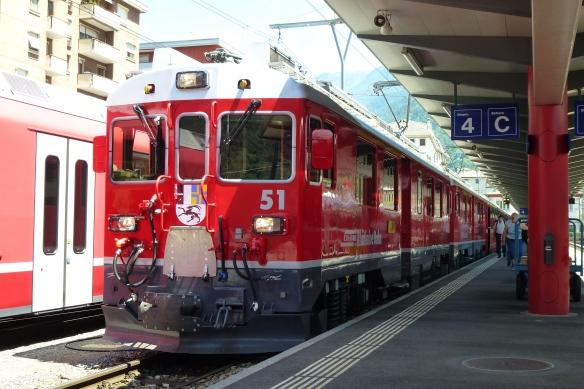 Bernina Express ready to depart Tirano.